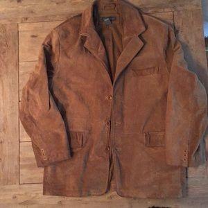 Banana Republic Men's Suede barn coat. Brown, lg